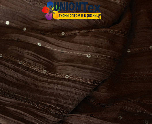Шифон плиссированный с вышивкой коричневый, фото 2