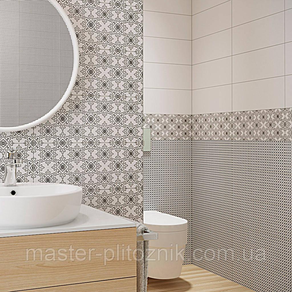 Плитка облицовочная для ванной и кухни Black White Pattern