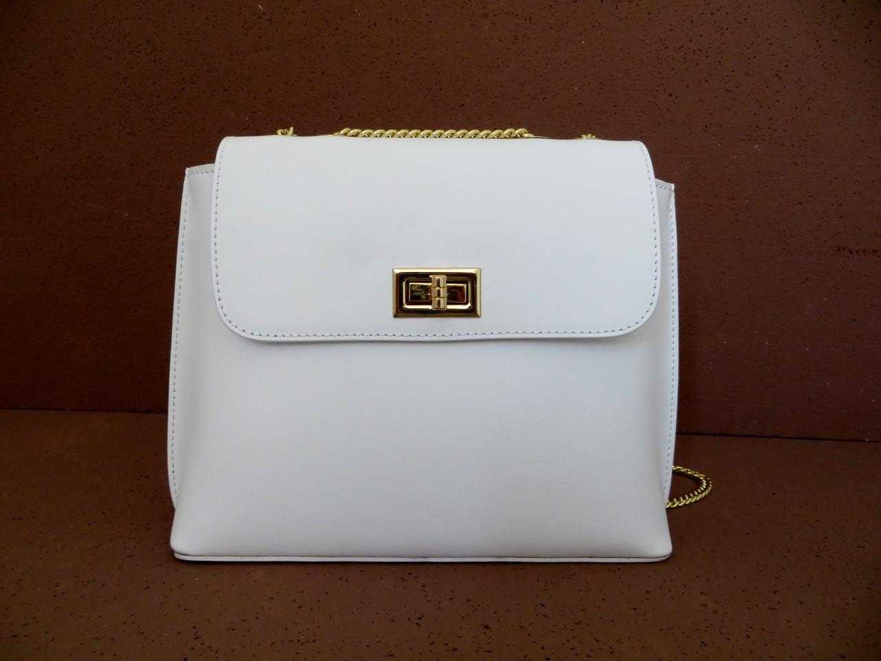 Брендовая женская сумочка  100% натуральная кожа! Италия Белый