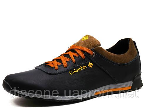 Туфли спортивные мужские Columbia, кожаные, темно-синие, р. 40 45