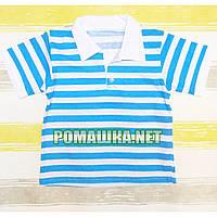 Детская футболка поло для мальчика р 98 1,5-2 года ткань КУЛИР 100% тонкий хлопок 3111 Бирюзовый