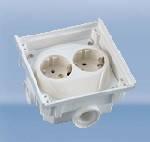 Коробка с двойной резеткой Schuko, термопласт 4 кабельных ввода с резьбой М20 Киев цена купить