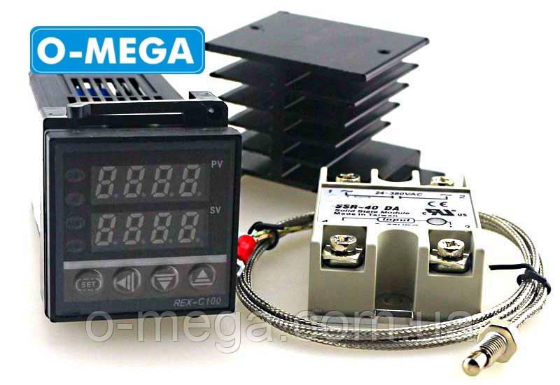 ПИД-терморегулятор REX-C100+SSR-40 DA+термопара 0-400°C+радиатор