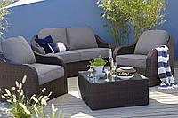 Набор садовой мебели из ротанга Borneo 4 Piece Conversation Sofa Set - Dark Brown & Dark Linen, фото 1