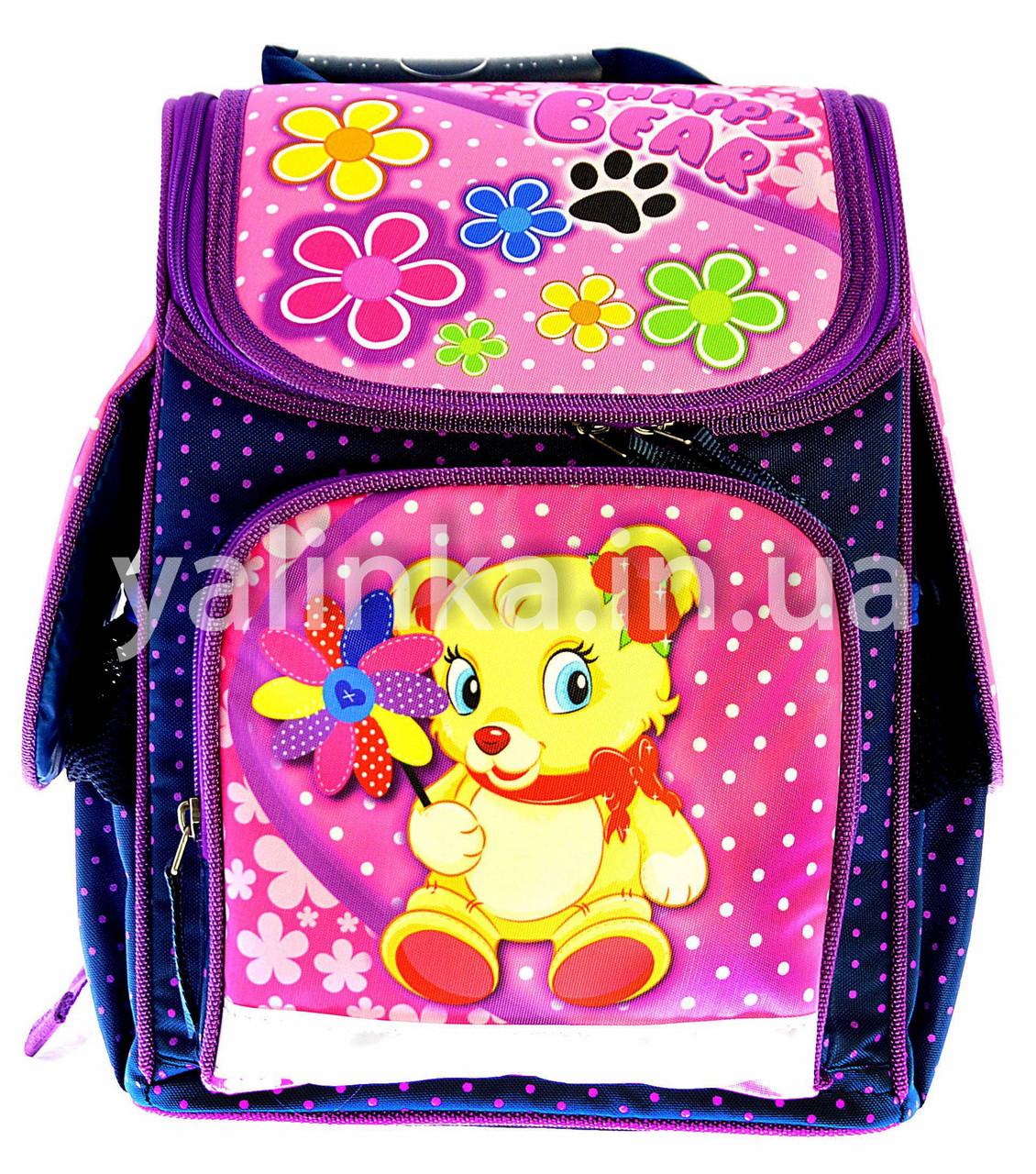 Ранец  ортопедический Мишка с цветами 7820-2
