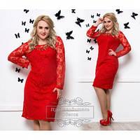 Платье женское красное Гипюр бат р 50-60, магазин платьев больших размеров