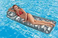 Надувной пляжный матрас Intex 58894 188*71см, серебристый пляжный матрас, надувной матрас для плавания