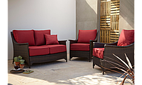 Набор садовой мебели Sumatra 3 Piece Conversation Sofa Set - Chilli Red, фото 1