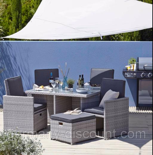 Набор садовой мебели Borneo 9 Piece Cube Dining Set - Grey & Charcoal