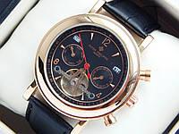 Мужские механические наручные часы Patek Philippe с турбийоном на кожаном ремешке, фото 1