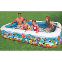 """Детский надувной бассейн Intex 58485 """"Подводный мир"""", прямоугольный надувной бассейн 305*183*56см"""