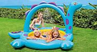 Детский надувной бассейн Intex 57437 «Динозавр» с фонтанчиком, бассейн для малышей 229*165*117см