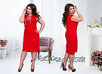 Красное льняное платье со шнуровкой на груди 50,52,54,56,58