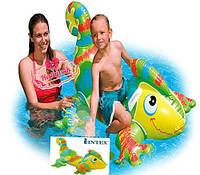 Надувной плотик Гекон Intex 56569 138*91см, надувная игрушка для плавания, детская игрушка для бассейна