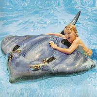 """Надувная игрушка для плавания Intex 57550 """"Скат"""" 188*145см, надувной плотик, детский плотик Интекс"""