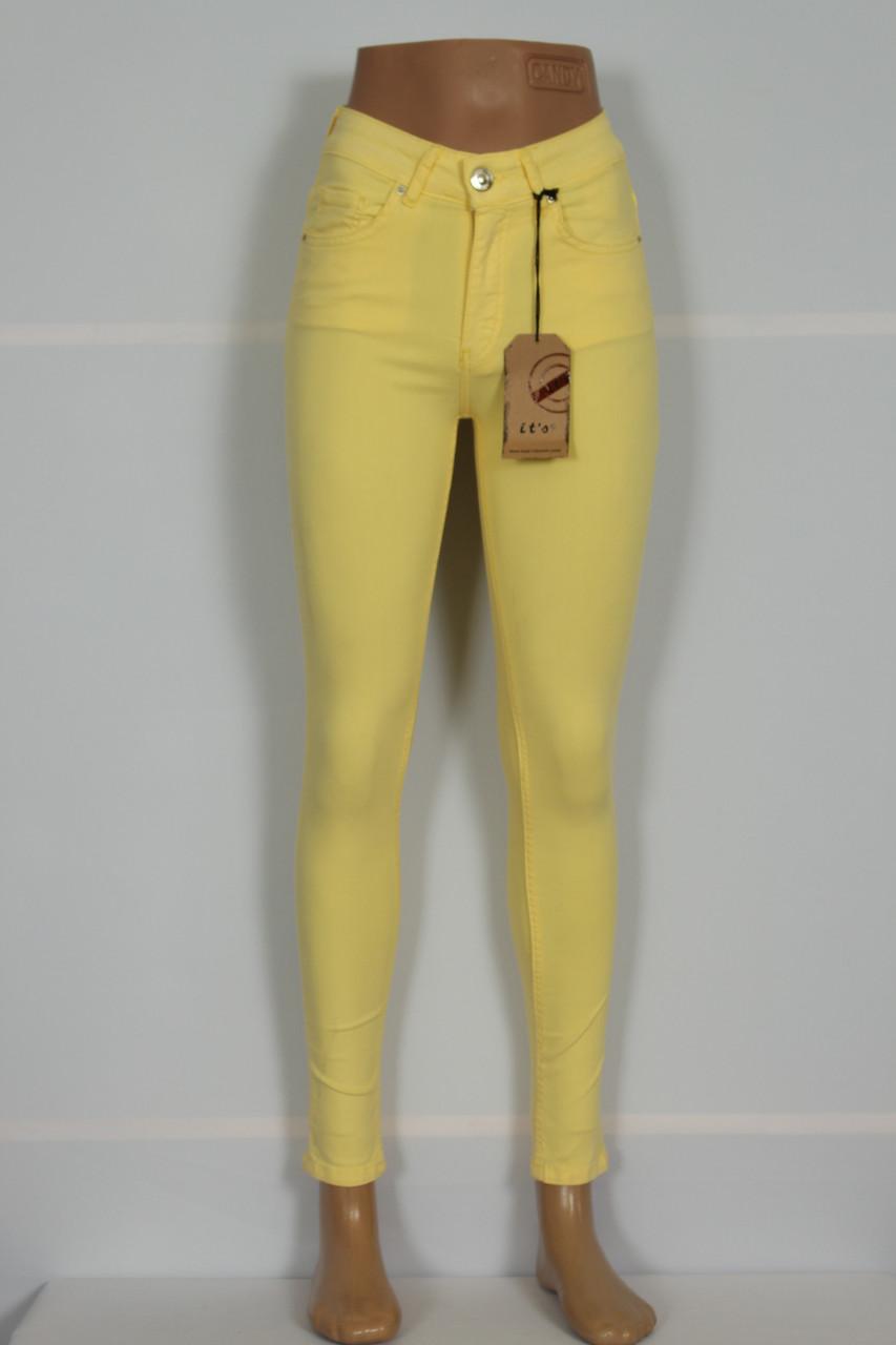 Женские  желтые джинсы с высокой талией