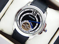 Мужские механические наручные часы Cartier с турбийоном на кожаном ремешке