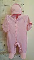 Комбинезон-человечек для новорожденных ажурный с шапочкой 56, розовый