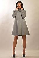 Зимнее трикотажное платье Аква-Зима цвета: серый | белый