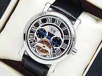 Мужские механические наручные часы Cartier с турбийоном на кожаном ремешке, фото 1