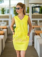 Желтое льняное летнее Платье Селеста