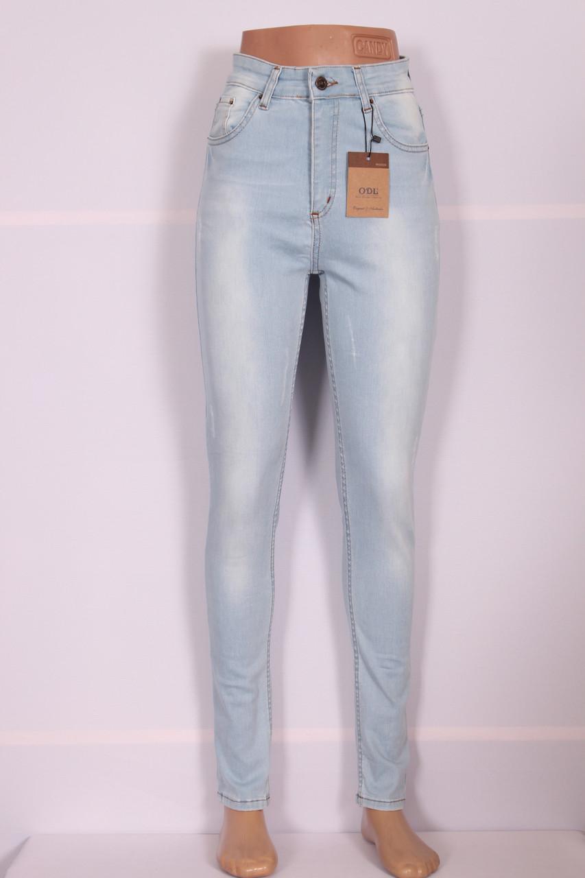 Жіночі завищені джинси блакитного кольору