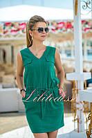 Зеленое льняное летнее Платье Селеста