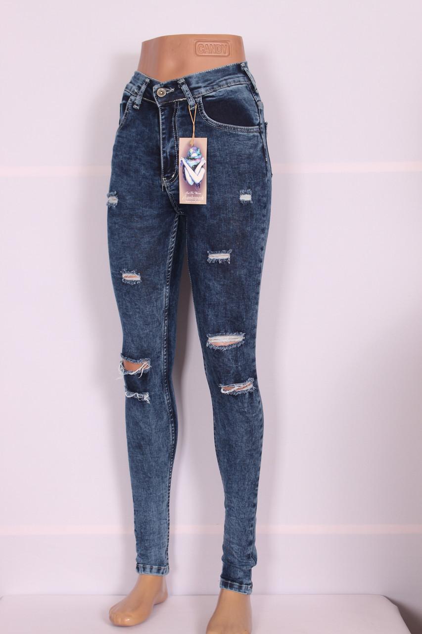 Женские джинсы на талии с дырками