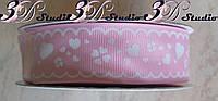 Лента репсовая декоративная светло-розовая с рисунком белые сердечки шириной 2,5 см