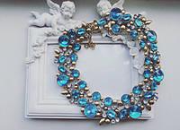 Колье женское Эйфория голубое , магазин бижутерии