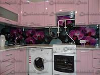 Кухонный фартук из закаленного стекла. Орхидеи. Цветы. Цветная печать на стекле. Дизайн кухни. Под заказ.Днепр
