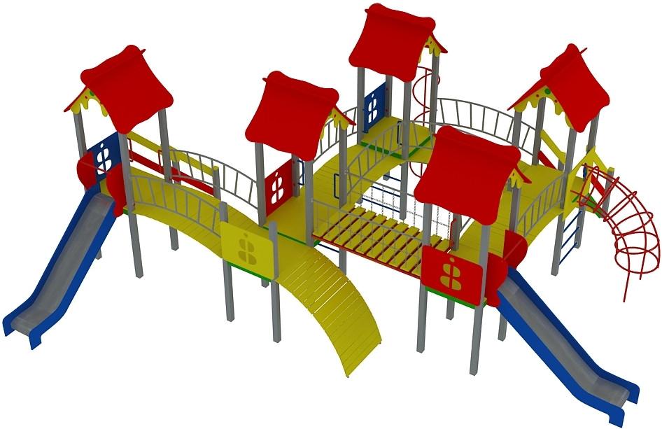 """Детский комплекс """"Жабка"""" высота горок 1,2 и 1,5 м"""