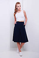 Модные женские кюлоты с высокой талией темно синего цвета, фото 1