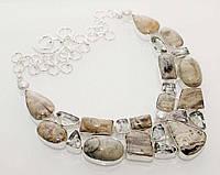 Колье, ожерелье из натуральных камней - ЯШМА, ЗЕЛЕНЫЙ АМЕТИСТ, ЖЕМЧУГ