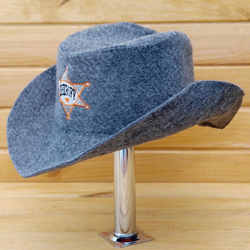 """Шляпа для сауны и бани V3 """"Шериф"""" серая"""