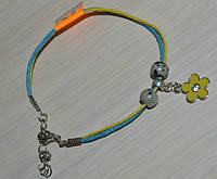 желто-голубой браслет с цветком