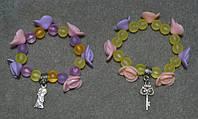 детские цветочные браслеты на леске-резинке