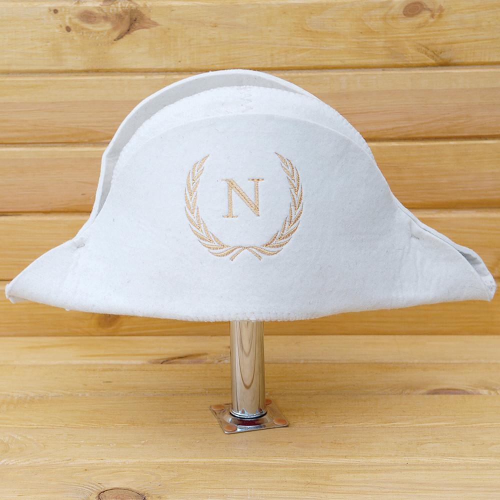 """Шапка для сауны и бани V3 """"Наполеон"""" белая повсть"""