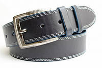 Джинсовый ремень 45 мм синий с белой ниткой синими краями пряжка матовая тккстурированная квадратная