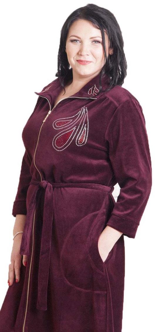 Красивый женский велюровый халат купить в интернет магазине