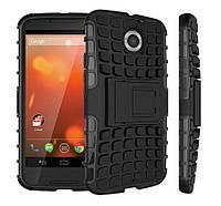 Чехол 2 в 1, бампер накладка для Motorola MOTO X2, основа и протектор/подставка черного цвета, фото 1