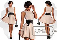 Платье с  атласным поясом - 577