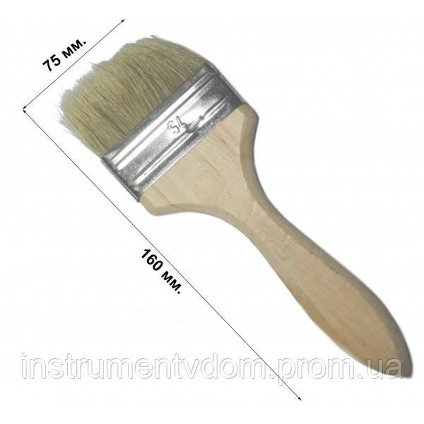 Кисть флейцевая утолщенная 75 мм, плоская (набор 10 шт)