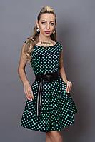Оригинальное женское платье черное с бирюзовым горохом