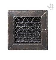 Вентиляционная решетка KRATKI Retro графитовая 22Х22 с одной дверкой выдвижная
