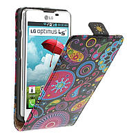 Чехол книжка для LG Optimus L5 II E450, E460 вертикальный флип, Colorized Pattern