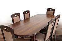 Стол обеденный раскладной из массива клена Твист, темный орех