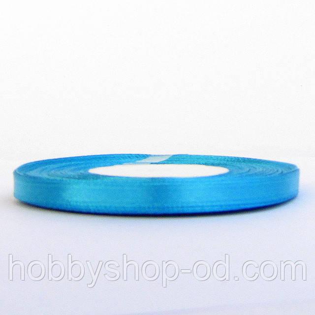 Лента атласная 0,6 см голубая