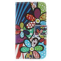 Чехол книжка для Samsung Galaxy Core 2 G355H боковой с отсеком для визиток, Мультяшные цветы