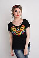Оригинальная трикотажная вышитая женская футболка